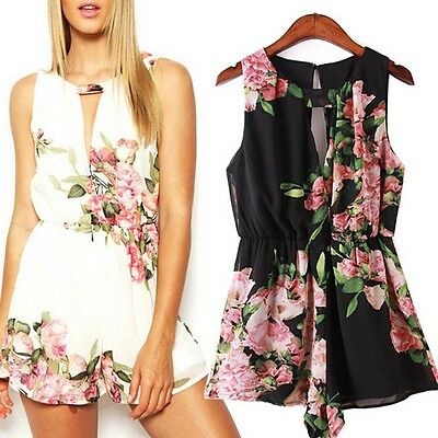 Summer Floral Print Sleeveless Backless Chiffon Jumpsuit Short Pant Hottest