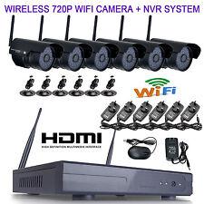 6pcs 720P Wireless wifi 36IR Camera 8CH plug and play NET NVR CCTV System BLACK