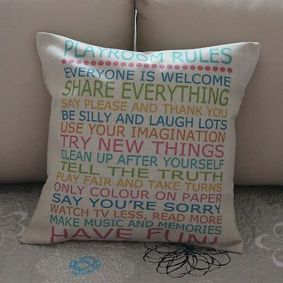 Colorful Playroom Rules Cotton Linen Cushion Cover Throw Pillow Home Decor B383