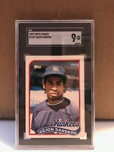 1989 Topps Traded Deion Sanders RC #110T SGC 9 MINT Yankees Rookie
