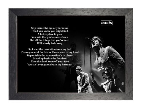 Oasis Don/'t Look Back in Anger English Rock Band Poster Gallagher Music Lyrics