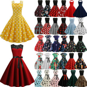 Womens-50S-60S-ROCKABILLY-Style-Swing-Pinup-Retro-Vintage-Housewife-Party-Dress