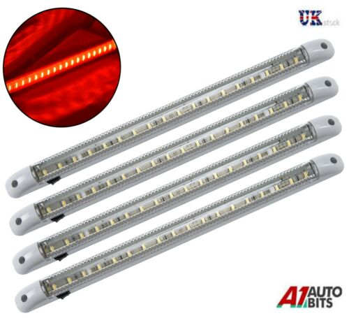 4 X RED LED 24V LIGHT STRIP BAR 400MM LORRY BOAT TRUCK TRACTOR YACHT CAMPER VAN