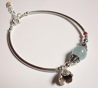 Handmade 925 Sterling Silver Natural Cabochon Aquamarine Bracelet