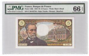 France 5 Francs Banknote 1967-70 Pick# 146b PMG GEM UNC 66 EPQ