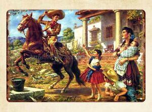 plaque shop Picnic Mexican classical painter Jesus Helguera art metal tin sign