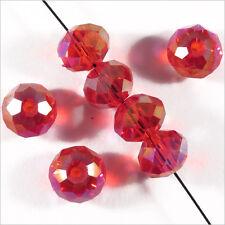 20 perles à Facettes Rondelles 8 x 6 mm en Cristal Rouge AB