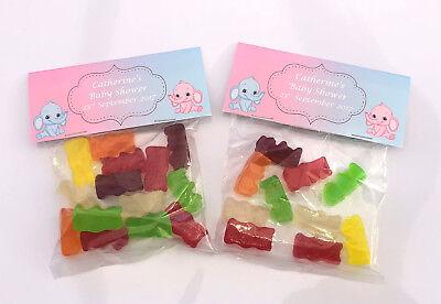 12 Rosa Personalizzata & Blue Baby Shower Sweet Bag Wrappers Favorisce, Ref B6sw- Promuovi La Produzione Di Fluidi Corporei E Saliva