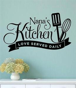 Nana\'s Kitchen Loved Served Daily Vinyl Wall Decals Sticker Words ...