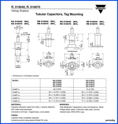 DRALORIC STANDARD// CAPACITOR RA16X40 500pF 4.5KV 4.2KVA Arms-5A 2PCS RFT