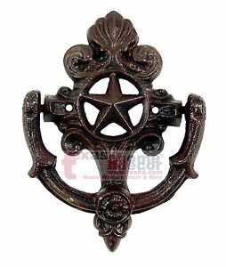 Details About Fleur De Lis Star Door Knocker Cast Iron Rustic Western Decor French Ornate