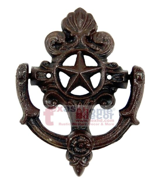 Exceptionnel Fleur De Lis Star Door Knocker Cast Iron Rustic Western Decor French Ornate