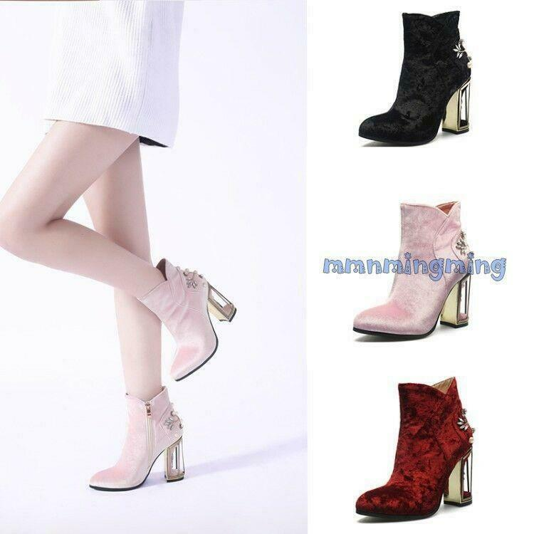New Women Rhinestone Floral Zip Block Heels Ankle Boots Suede Round Toe Shoes da