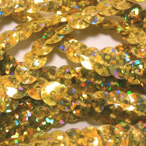 14 Couleurs 10 m x 6 mm Enfilées Holographique Hologramme Métallique Plat Paillettes String