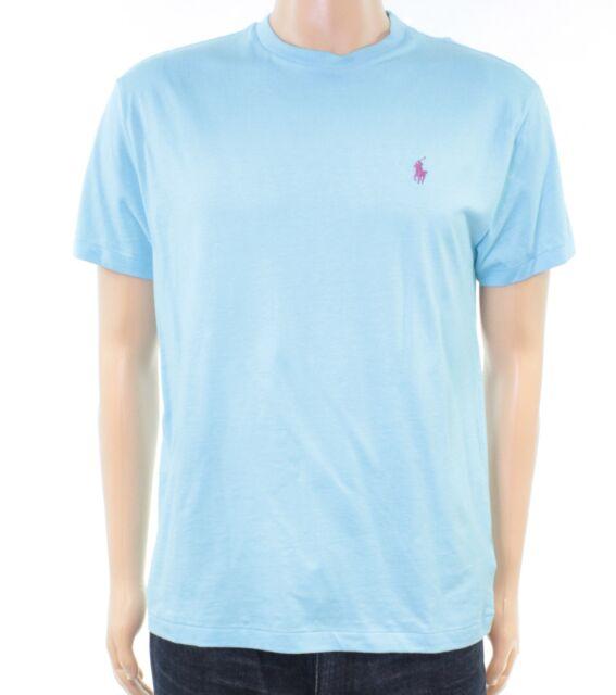 Polo Ralph Lauren Mens Shirt Blue Size Large L Crewneck Solid Tee $39 #024