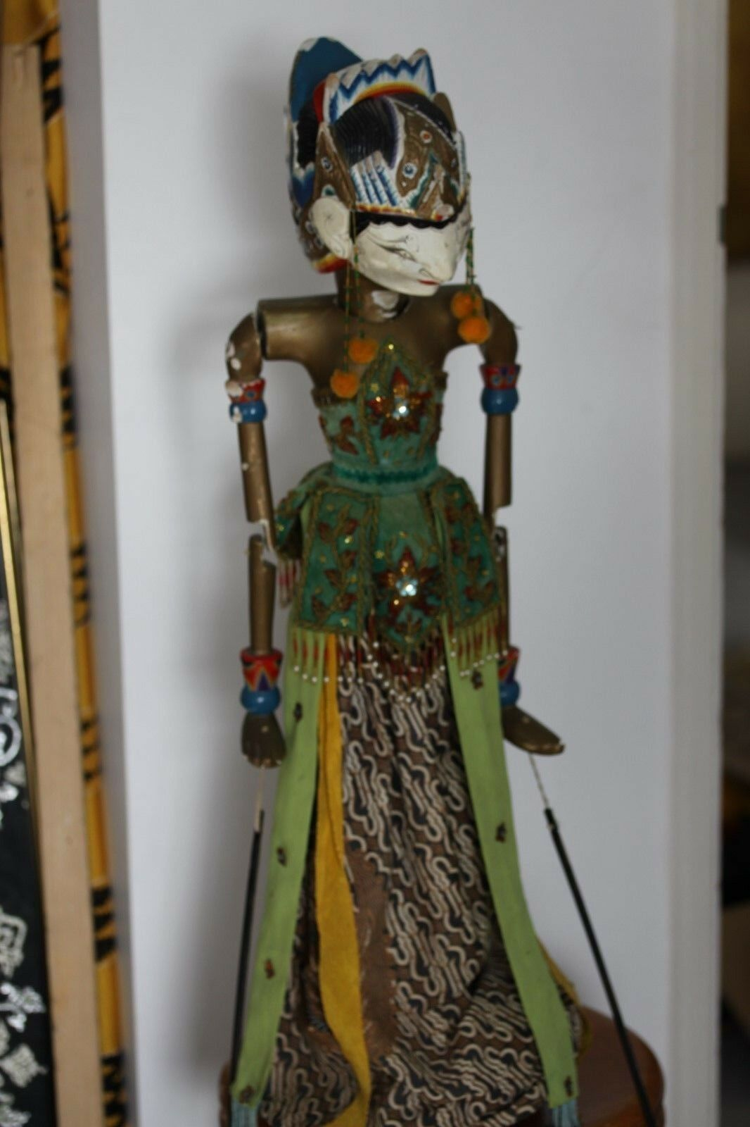 Vintage wooden indonesia puppet doll with base