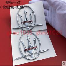 Maserati Quattroporte GT Ghibli Levant LH,RH Side Rear Lid Gold Badge 3 PCS
