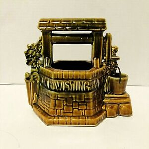 Vintage-McCoy-Oh-Wishing-Well-Grant-a-Wish-to-Me-Planter-Brown-Green-USA