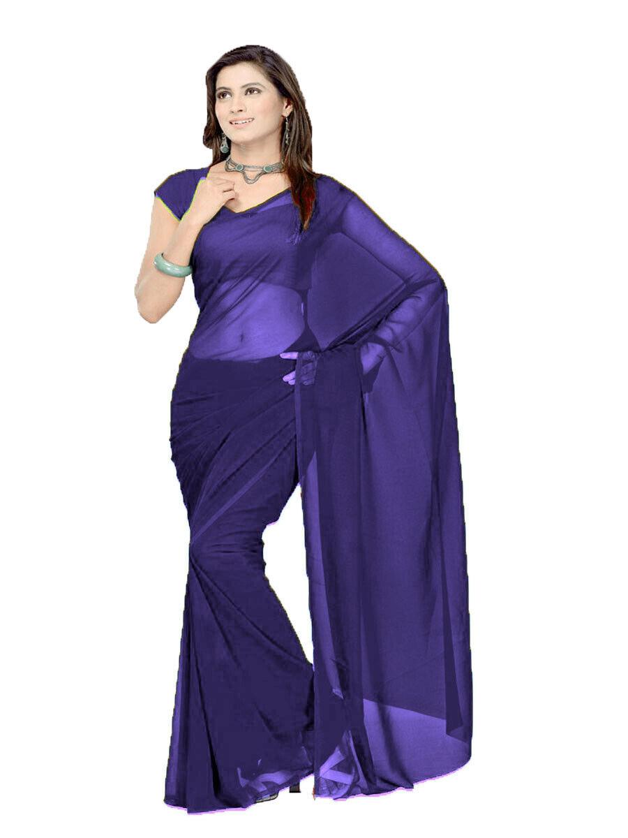 6 Yard Saree Plain Sheer Chiffon Fabric Indian Saree For Women Women's Day C26