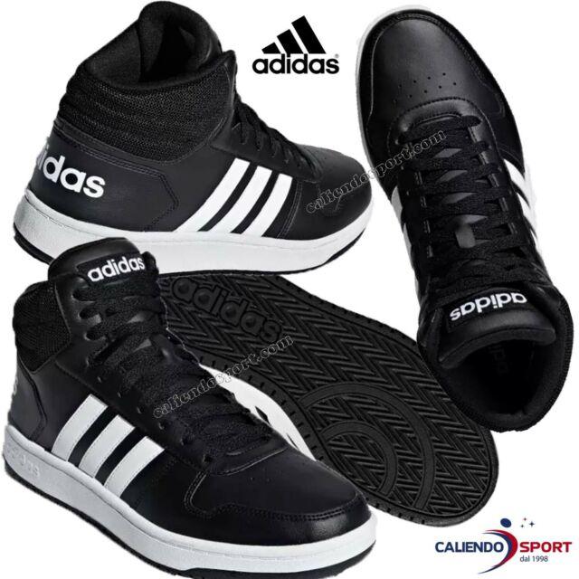 1545129 adidas Hoops 2.0 Mid Scarpe da Fitness Uomo Nero (negbã¡sftwblanegbã¡