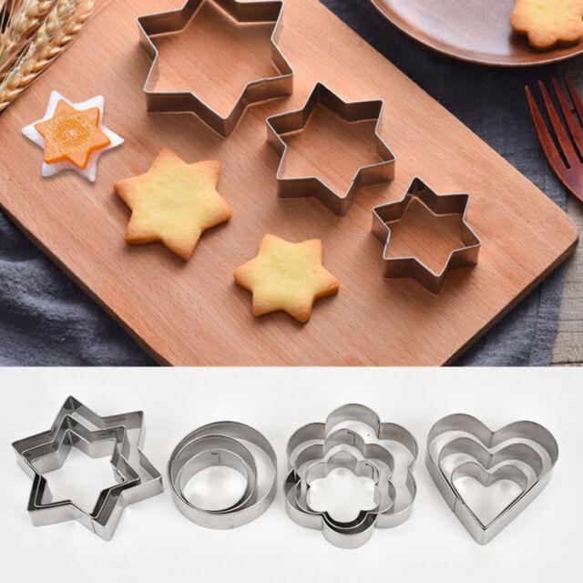 12P Metal Biscuit Cookie Cutters Set Cake Mould Decorating Pastry Sugarpaste UK