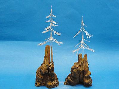 Constructive Pair Of Fabulous 60s Tree Glass Sculpture Surmounted On Driftwood Base