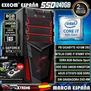 Ordenador-Gaming-Pc-Intel-I7-9700KF-8GB-DDR4-SSD-240GB-Asus-GTX1070-8GB-Windows