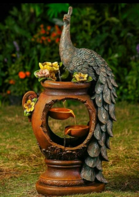 Amazing Jeco Inc Resin Peacock Water Fountain With Led Light For Sale