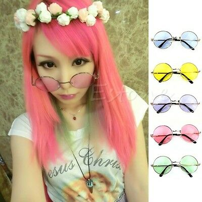Women Men Colorful Lens Sunglasses Eyewear Plastic Frame Round Goggles Glasses