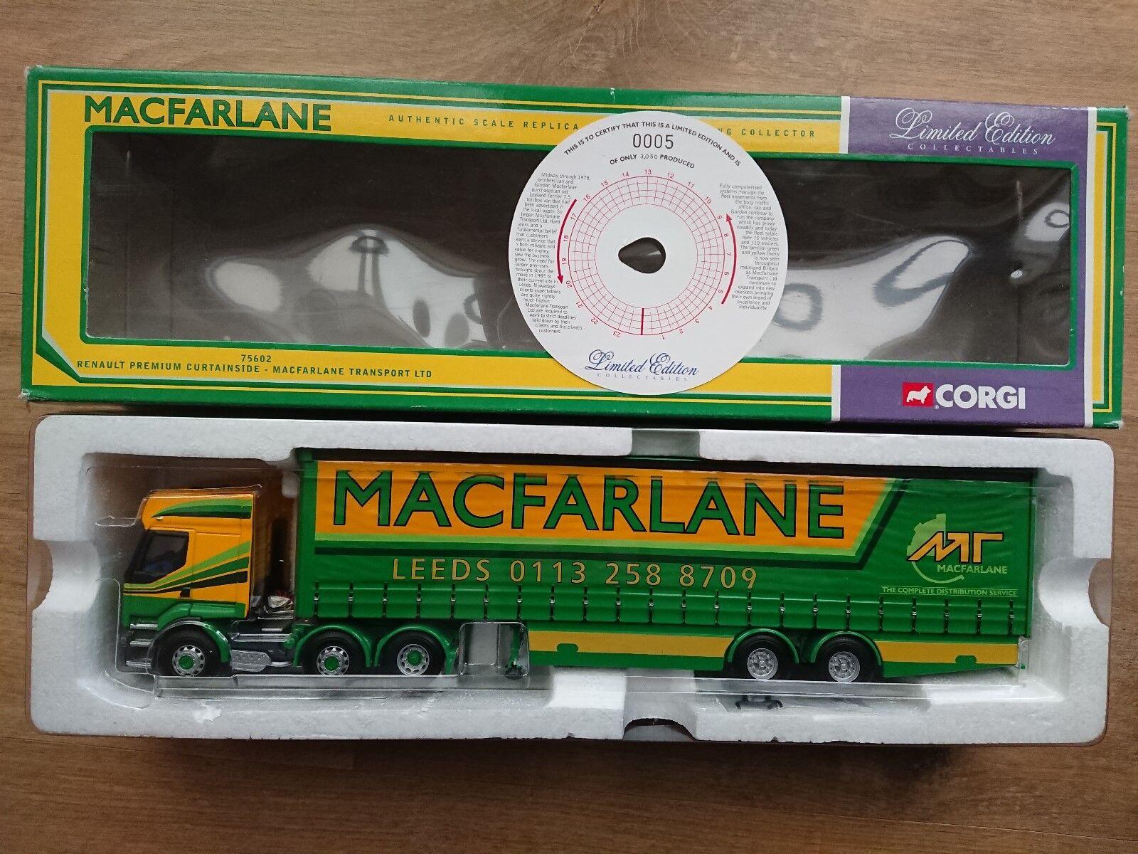 CORGI 75602 RENAULT PREMIUM CURTAINSIDE MacFarlane Ltd Edition N. 0005 del 3050