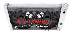 "1984-1990 Chevrolet Corvette Small Block Engine 3 Row SR Radiator w// 2 12/"" Fans"