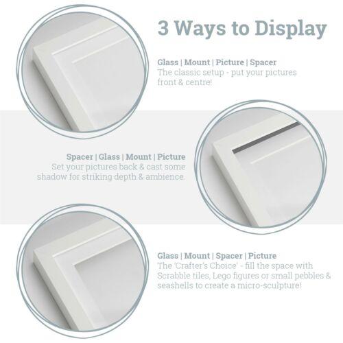 5x 8 x 8 3D Box Frame Photo Picture Deep Display /& 4 x 4 Mount White//Grey