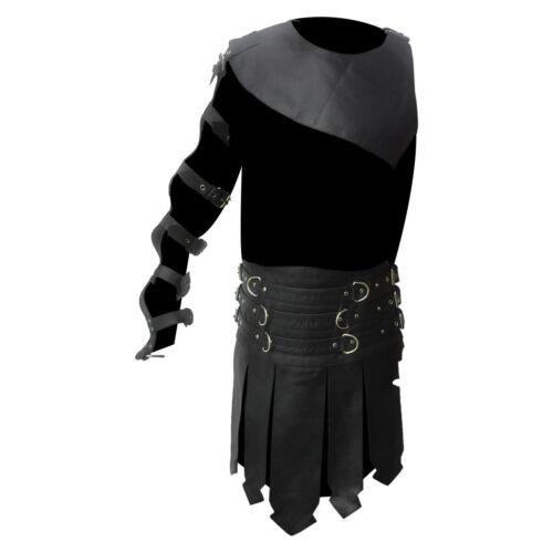 Men Roman Gladiator Kilt Real Black Leather Heavy duty Set LARP