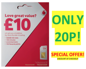 Details about NEW OFFICIAL UK VODAFONE Sim Card Pay As You Go PAYG STANDARD  MICRO NANO 20P
