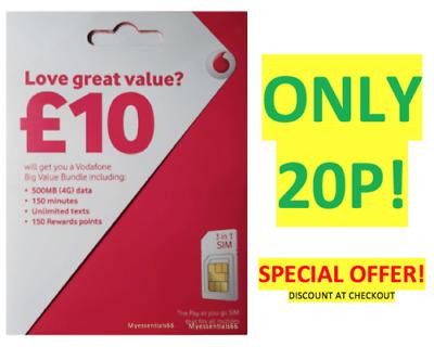 NEW OFFICIAL UK VODAFONE Sim Card Pay As You Go PAYG STANDARD MICRO NANO  20P   eBay