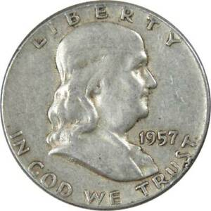 1957-50c-Franklin-Silver-Half-Dollar-US-Coin-Average-Circulated