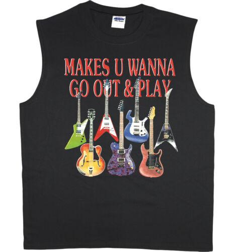 Men/'s sleeveless shirt Guitar decal design guitarist gift muscle tee tank top