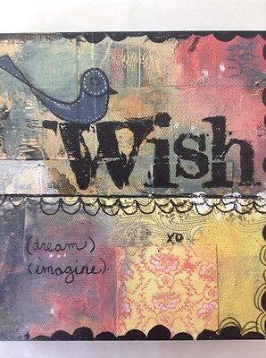 "Wish Dream Imagine Wall Art Kelly Rae Roberts 6""x2"" Canvas Print Multi-Color"