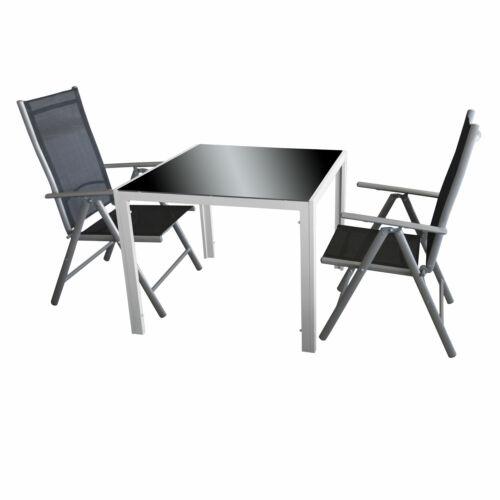 3tlg Sitzgruppe Tisch 90cm 2 Hochlehnerstühle verstellbar Silbergrau//Schwarz
