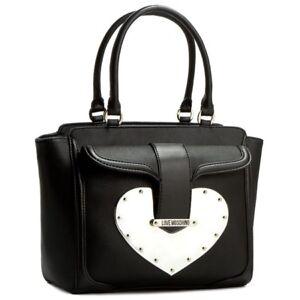 Corazón Rrp Negro mujer Cuero Nuevo mano 280 Moschino Bolso Hombro para Love Oro de q76vfx8