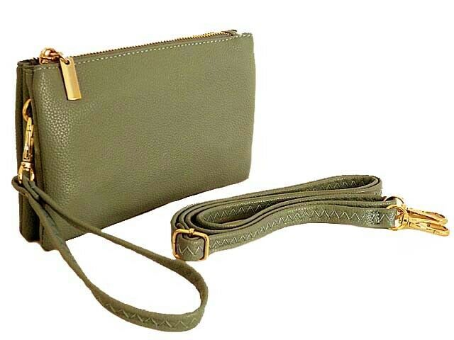 Small Clutch Bag Multi Compartment Pocket Cross Body Purse With Wrist Long Strap