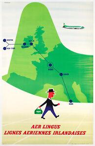 Original-Vintage-Poster-T-Eckersley-Aer-Lingus-Avion-Irlande-1960