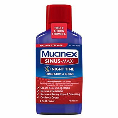 Mucinex Sinus-Max Strength Night Time Cough - Congestion Relief Liquid 6 oz