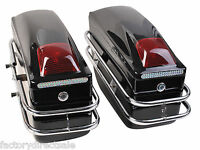 Motorcycle Cruiser Hard Trunk Saddle Bags Trunk Luggage W/ Lights Mounted Black on sale