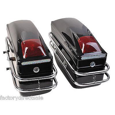Motorcycle Cruiser Hard Trunk Saddle Bags Trunk Luggage w/ Lights Mounted Black