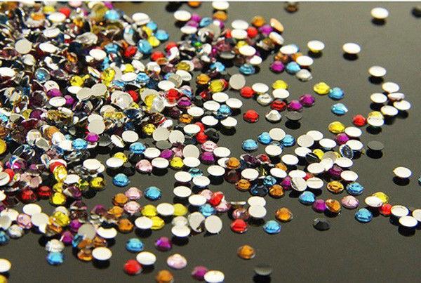 DIY New 800pcs 4mm Facets Resin Rhinestone Gems Flat Back Crystal beads Mix art