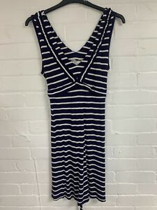 Ex Fat Face Blue and White Stripe Sleeveless Dress Size 16 (OR3.234)