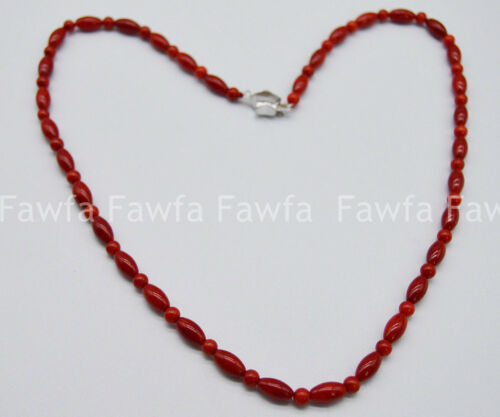 Beautiful 4mm And 5x9mm Natural Red Coral Round// Rice Red Coral Necklace 14-28/'/'