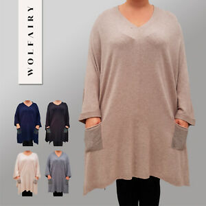 32c03b4e15e Image is loading Embellished-Quirky-Soft-Lagenlook-Poncho-Cape-Jumper -Draped-
