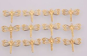100pcs-Golden-Plated-Tone-Lovely-Dragonfly-Findings-Charm-Pendants-15mm